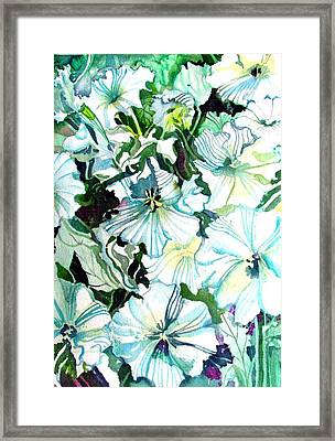 White Petunias Framed Print by Mindy Newman