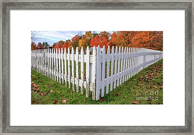 White Picket Fence Etna New Hampshire Fall Foliage Framed Print by Edward Fielding