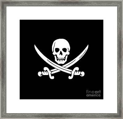 White Pirate Skull Framed Print by Frederick Holiday