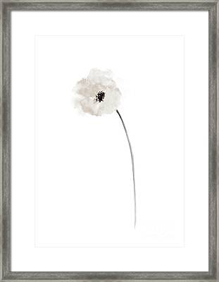 White Poppy Bride Wedding Gift Ideas, Minimalist Floral Illustration Framed Print
