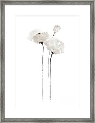 White Poppy Minimalist Wall Decoration, Floral Painting  Framed Print by Joanna Szmerdt