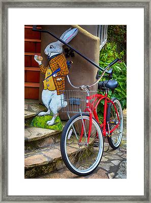 White Rabbit And Bike Framed Print by Garry Gay