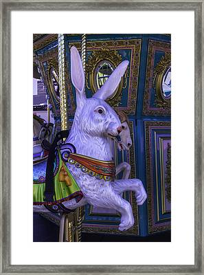White Rabbit Carrousel Ride Framed Print by Garry Gay