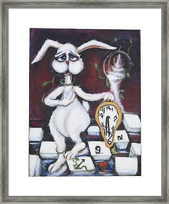 White Rabbit Framed Print by Cathi Doherty
