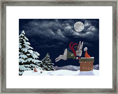White Rabbit Christmas Framed Print