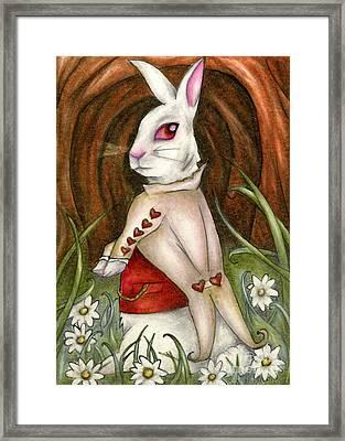 White Rabbit On Way To Wonderland Framed Print
