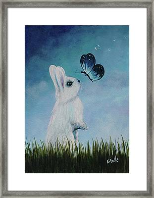 White Rabbit With Butterfly Paintings Framed Print by Shawna Erback