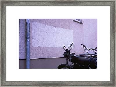 White Rectangle And Vintage Bikes Framed Print