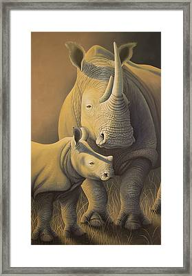 White Rhino Fading Into Extinction Framed Print