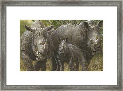 White Rhino Family - The Face That Only A Mother Could Love Framed Print
