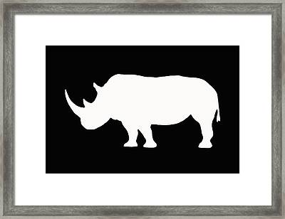 White Rhino Left Framed Print
