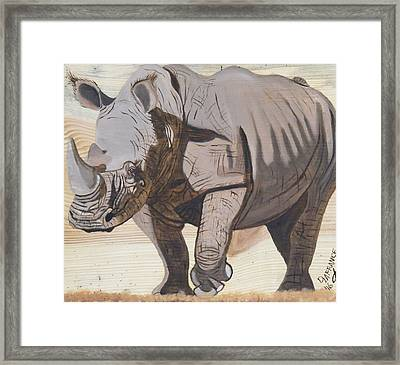White Rhino On Rustic Wood Framed Print by Debbie LaFrance
