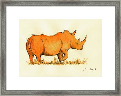 White Rhino Orange Framed Print by Juan  Bosco