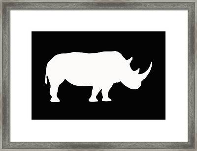 White Rhino Right Framed Print