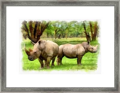 White Rhinos Framed Print