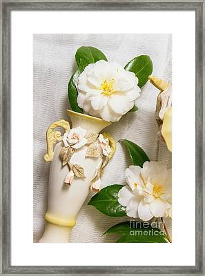 White Rhododendron Funeral Flowers Framed Print