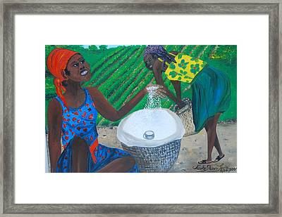 Framed Print featuring the painting White Rice Merchant by Nicole Jean-Louis