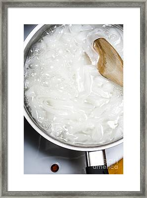 White Rice Noodles Simmering In Cook Pot Framed Print by Jorgo Photography - Wall Art Gallery