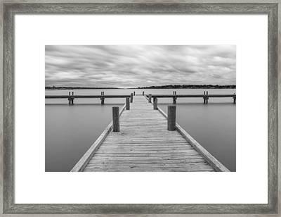 White Rock Lake Pier Black And White Framed Print