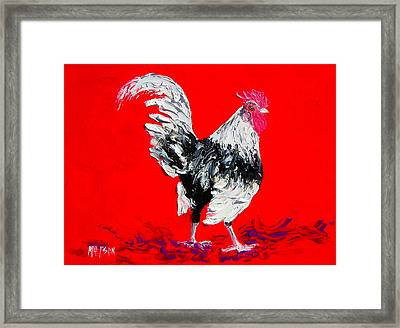 White Rooster On Red Background Framed Print