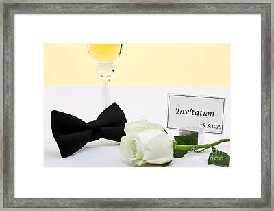 White Rose Bow Tie And Invitation. Framed Print by Richard Thomas