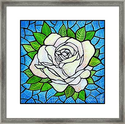 Framed Print featuring the painting White Rose  by Jim Harris