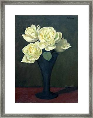 Four White Roses In Trumpet Vase Framed Print