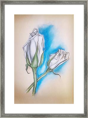 Framed Print featuring the pastel White Roses by Keith A Link