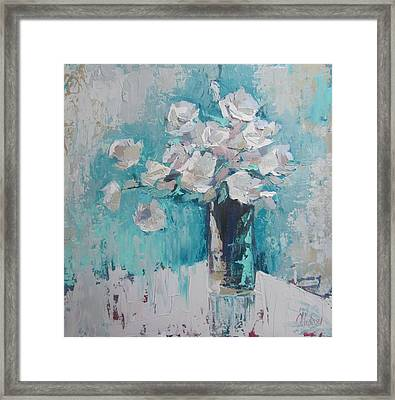 White Roses Palette Knife Acrylic Painting Framed Print by Chris Hobel