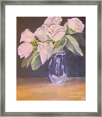 Framed Print featuring the painting White Roses by Saundra Johnson