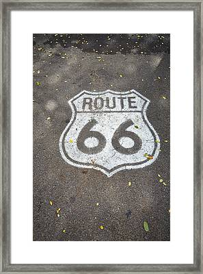 White Route 66 Sign Painted On Street Framed Print by Gillham Studios