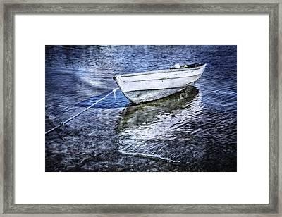 White Rowboat Framed Print by Debra and Dave Vanderlaan