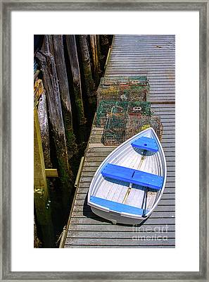 White Rowboat Framed Print by Diane Diederich