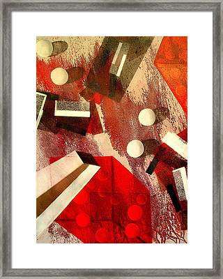 White Runaway Dots Framed Print by Evguenia Men