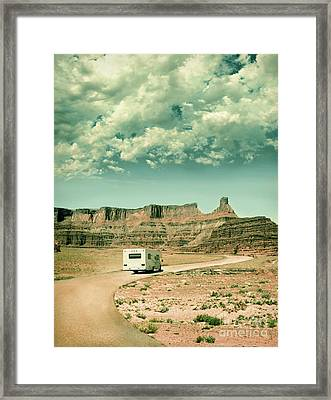 White Rv In Utah Framed Print by Jill Battaglia