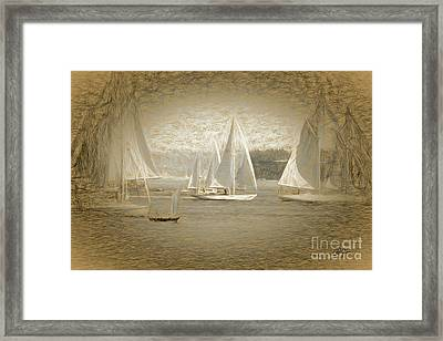 White Sails On Admiralty Inlet Framed Print by Cheryl Rose