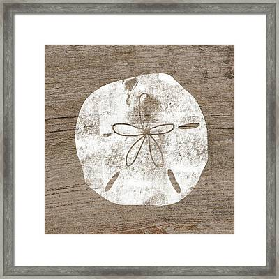 White Sand Dollar- Art By Linda Woods Framed Print