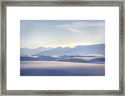 White Sands Blue Sky Framed Print by Peter Tellone