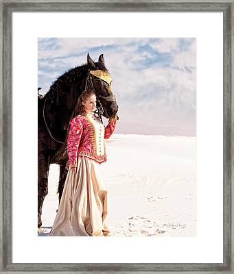 White Sands Horse And Rider #2a Framed Print