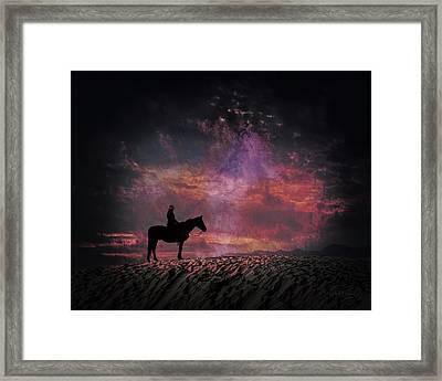 White Sands Horse And Rider #4c Framed Print