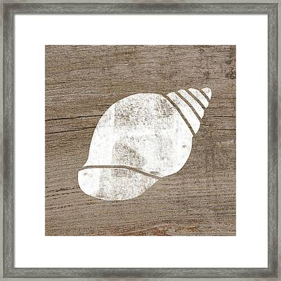 White Seashell- Art By Linda Woods Framed Print by Linda Woods