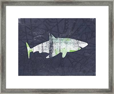 White Shark- Art By Linda Woods Framed Print by Linda Woods