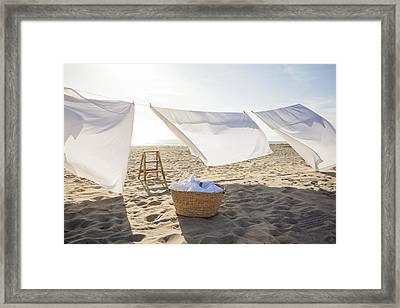White Sheets Hanging On Laundry Line At Beach Photograph