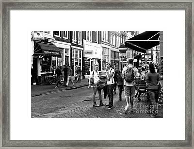 White Shirts In Amsterdam Mono Framed Print by John Rizzuto