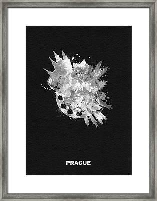 White Skyround Art Of Prague, Czech Republic Framed Print