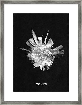 White Skyround / Skyline Art Of Tokyo, Japan Framed Print