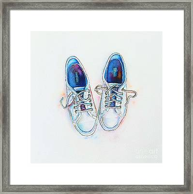 White Sneakers Framed Print by Willow Heath