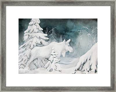White Spirit Moose Framed Print by Nonie Wideman