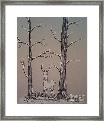 White Stag Framed Print