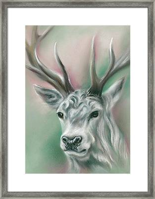 White Stag Framed Print